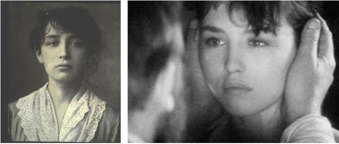 左圖為於羅丹工作室時的卡蜜兒,攝於1884年。右圖為伊莎貝.艾珍妮於1988年於由卡蜜兒角度述事的電影《Camille Claudel》中劇照,神似真實的卡蜜兒。