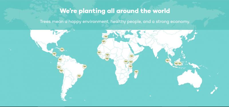 目前Ecosia已經的種樹版圖包含南美洲、非洲、亞洲及歐洲。(圖片擷取自Ecosia官網)