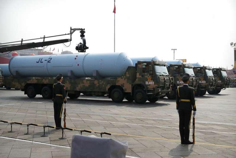 2019十一國慶大閱兵、解放軍、巨浪-2。(美聯社)