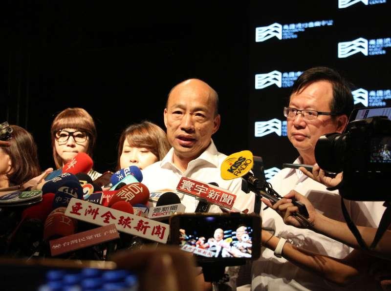 20191002-高雄市長韓國瑜(中)2日出席高雄流行音樂中心發布記者會。(高雄市政府提供)