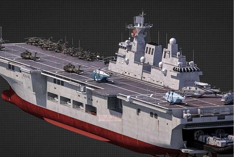 中國075型兩棲攻擊艦效果圖(圖源:@西葛西造艦軍事CG)