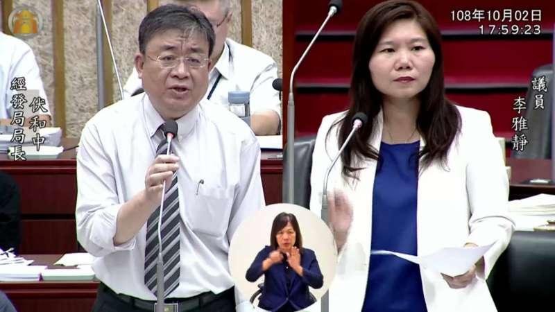 市議員李雅靜(右)在財經部門質詢時,與經發局伏和中局長(左)進行相關質詢、對話。(圖/高市議員李雅靜提供)