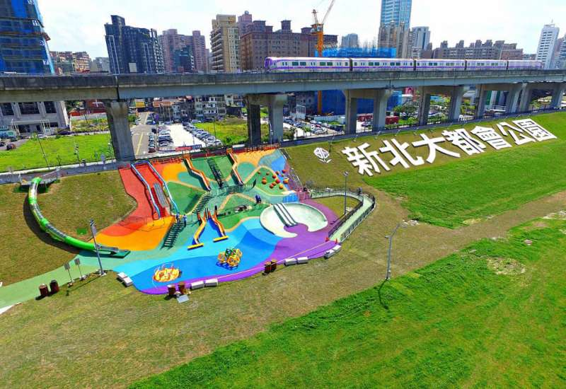 新北市大都會公園,場地足夠容納萬人同步抓寶(新北市政府)