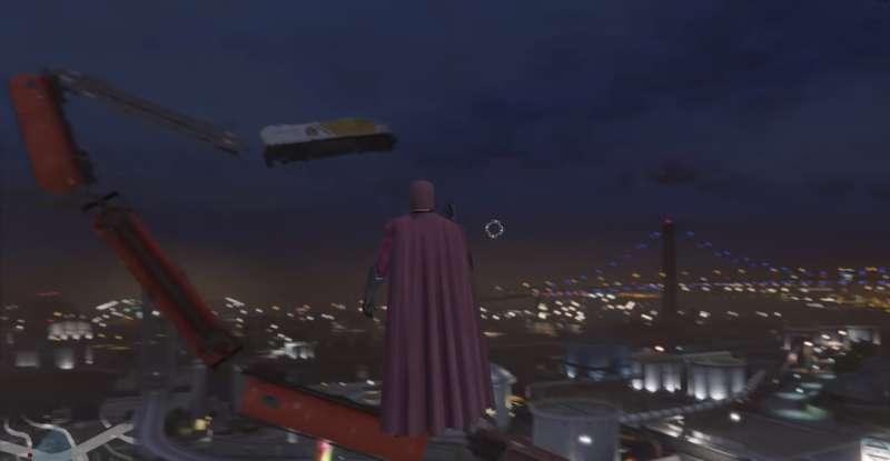 《俠盜獵車手V》粉絲二度創作模組,圖中為萬磁王將火車當鞭子甩。(圖片擷取自Youtube)