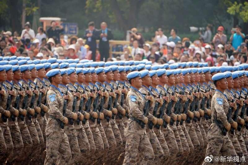 2019年10月1日,慶祝中華人民共和國成立70周年閱兵,維和部隊方隊。(新華社)