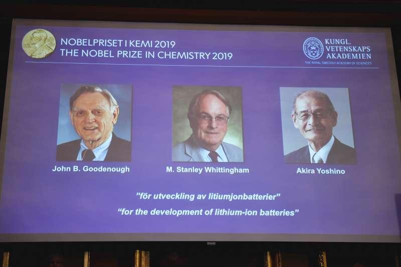 2019諾貝爾化學獎有「鋰電池之父」之稱的美國學者古迪納夫(John B. Goodenough)、英國學者惠廷安(M. Stanley Whittingham)與日本學者吉野彰(Yoshino Akira)摘下桂冠(AP)