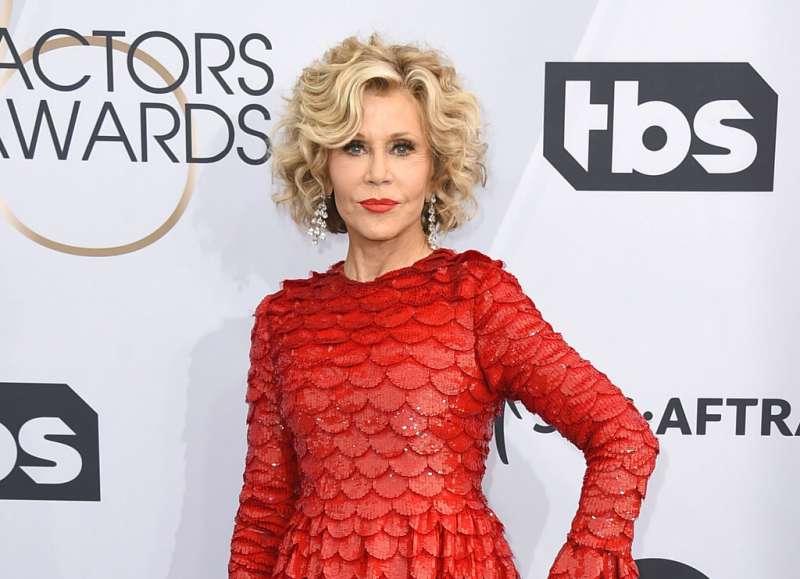 奧斯卡影后珍芳達(Jane Fonda)10月11日在美國國會山莊外參與氣候變遷抗議活動,遭到逮捕。(AP)