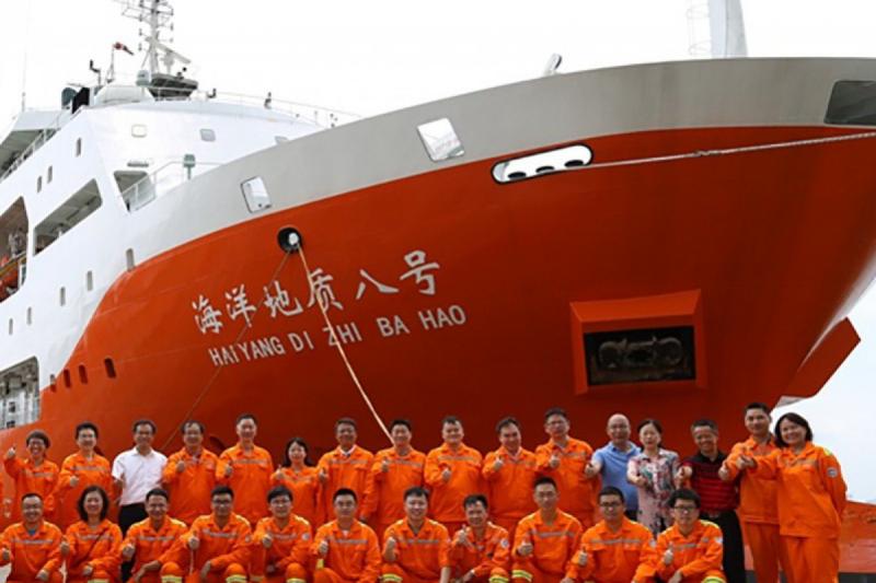 中國遠洋勘探船「海洋地質8」(微博)