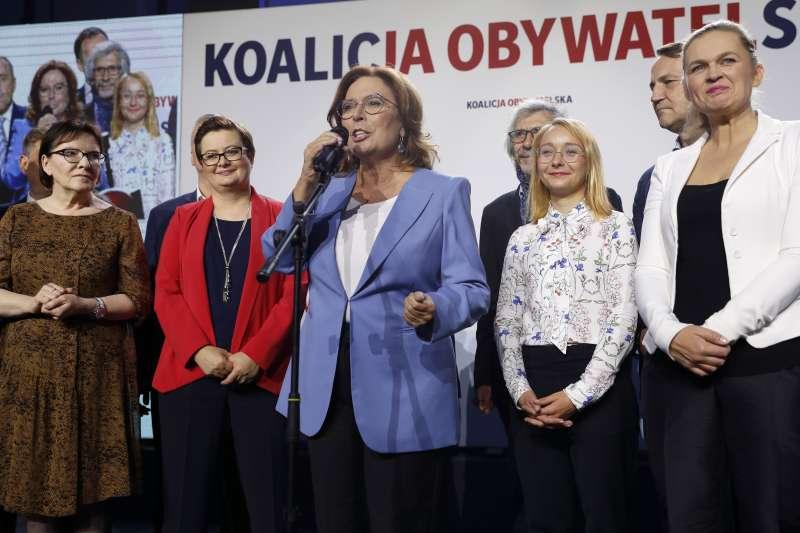 波蘭13日舉行國會大選,最大在野黨中間偏右「公民聯盟」得票率名列第二(美聯社)