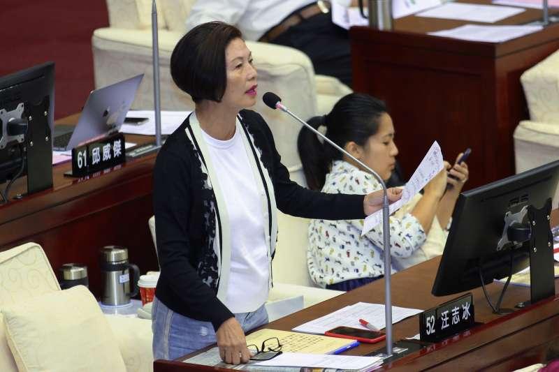 20191014-北市議員汪志冰出席市議會2之6會議質詢。(蔡親傑攝)