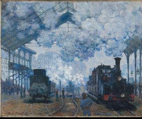 莫內的《聖拉札爾火車站(Gare St.- Lazare)》系列作品擷取,1877年,由上至下分別藏於哈佛大學博物館