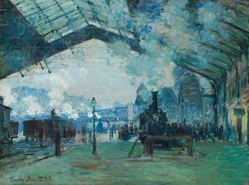 莫內的《聖拉札爾火車站(Gare St.- Lazare)》系列作品擷取,1877年,由上至下分別藏於芝加哥藝術博物館