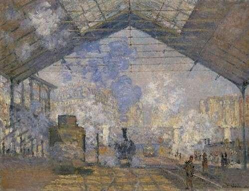 莫內的《聖拉札爾火車站(Gare St.- Lazare)》系列作品擷取,1877年,由上至下分別藏於奧塞美術館