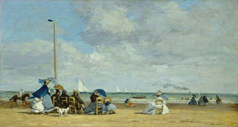 Eugin Boudin的《特魯維爾海邊(La plage de Trouville)》, 1864年, 藏於華盛頓的國家藝廊