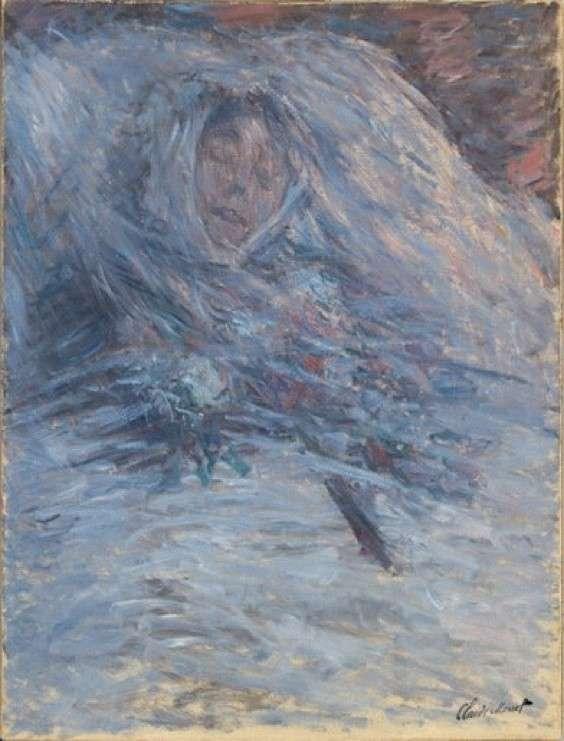 莫內的《正死去的莫內夫人(Camille Monet sur son lit de mort)》,1879年,藏於奧塞美術館