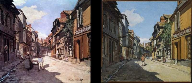 莫內的《翁弗勒街道(Rue de la Bavole, Honfleur)》,1864年,右幅藏於波士頓美術館