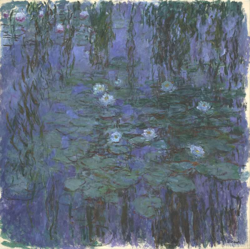 莫內的 《藍水蓮花(Nymphéas bleus)》,1916~1919年,藏於奧塞美術館