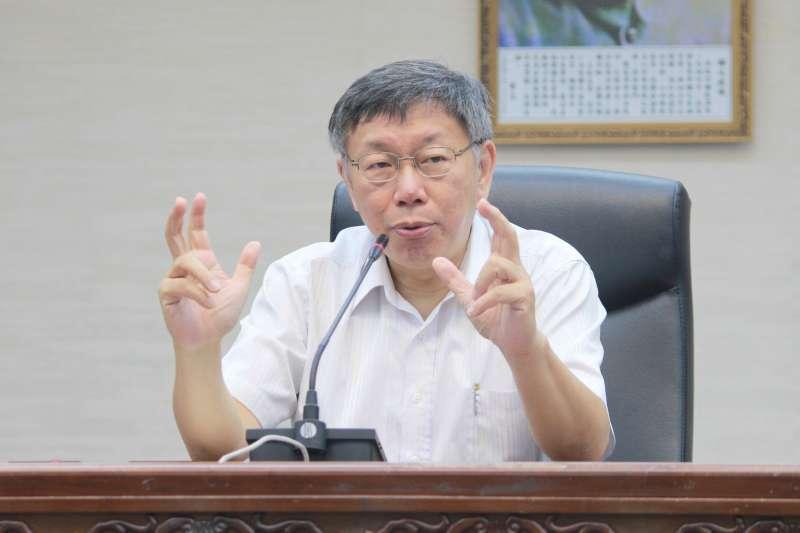 北市府今天舉行秘書長交接,圖為台北市長柯文哲。(方炳超攝)