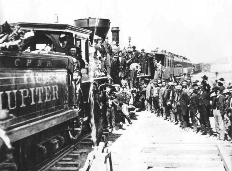 美國第一條橫貫大陸鐵路與1869年竣工(取自維基百科)