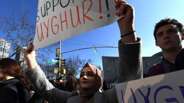 近年來不少示威者抗議中國政府損害維吾爾人自由。(BBC中文)