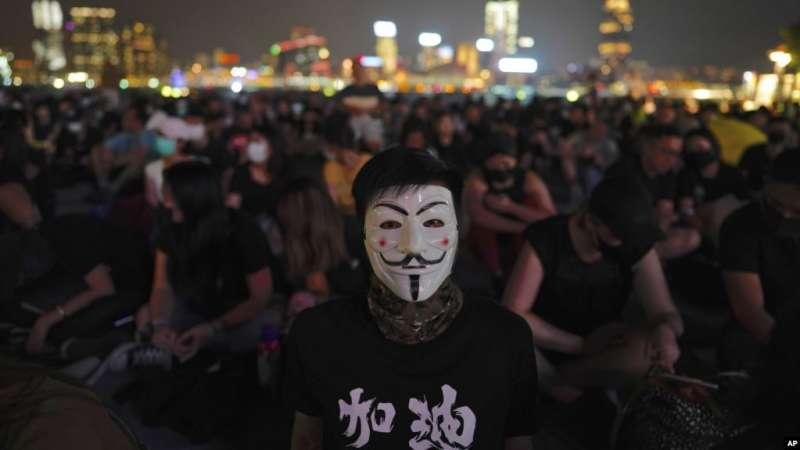 2019年9月28日,香港添馬公園裡的抗爭者。(美聯社)