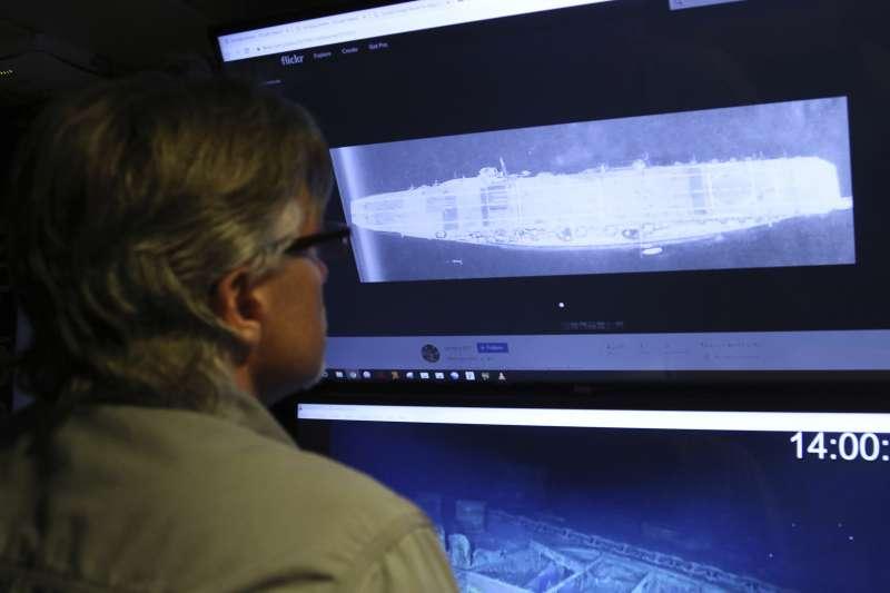 深海探測船發現「加賀號」戰艦殘骸。(AP)