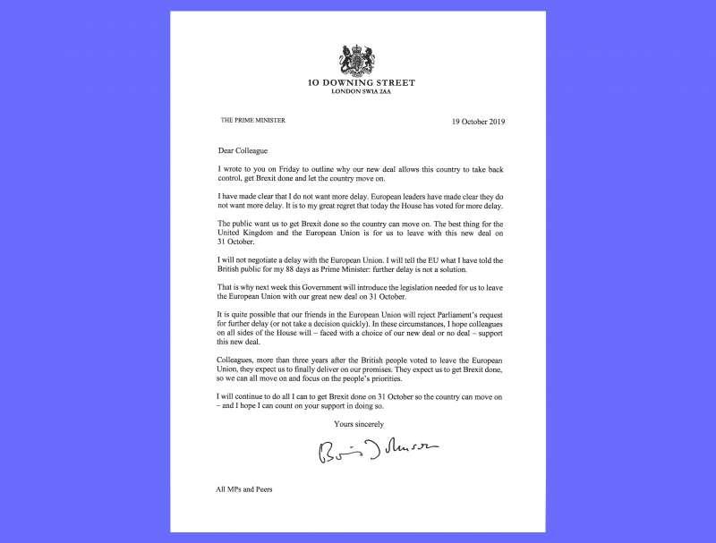 2019年10月19日,英國脫歐表決戰,首相強森致函歐洲理事會主席圖斯克,指稱延後脫歐大限將傷害英國與歐盟的利益(AP)
