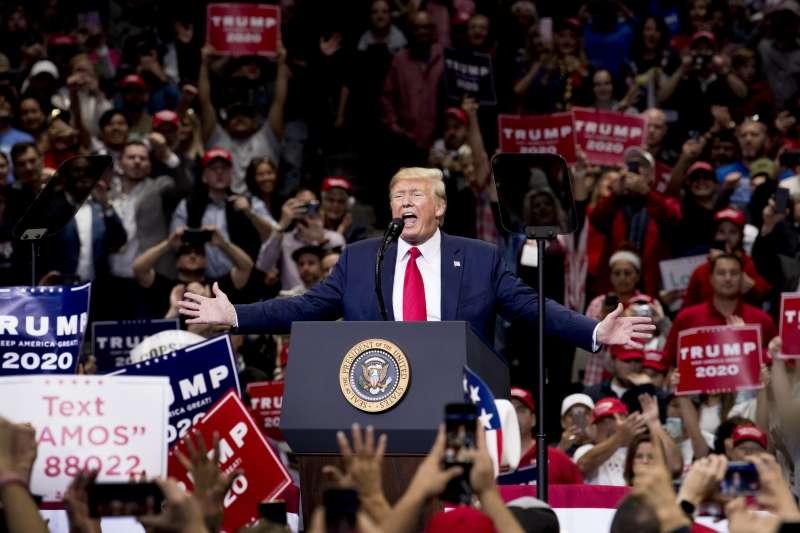 美國總統川普力拚2020年連任。(AP)