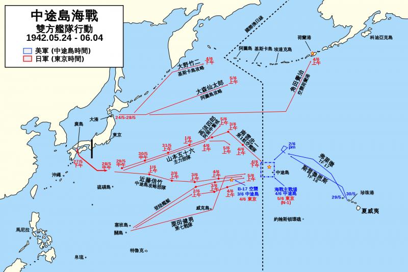 中途島戰役前美國及日本艦隊的行動地圖(1942年5月24日至6月5日)。(Oneam@Wikipedia/CC BY-SA 4.0)