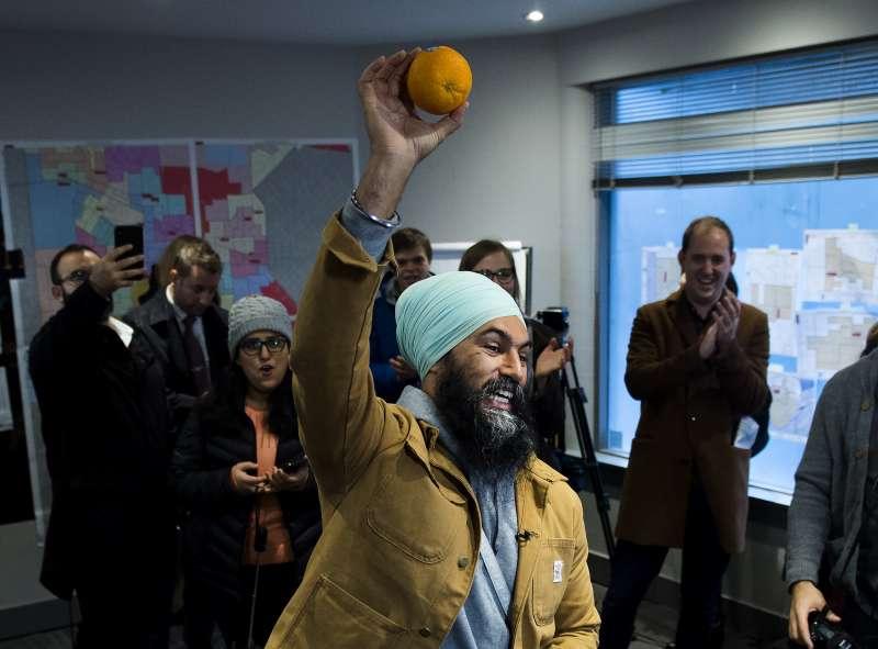 2019年加拿大國會大選,新民主黨黨魁駔勉誠(Jagmeet Singh)。(AP)