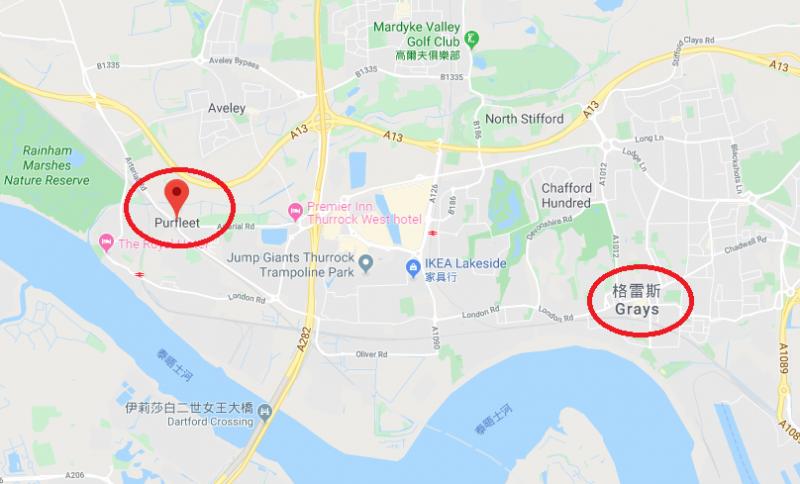 英國警方表示,該輛貨櫃車的拖車抵達英國艾塞克斯郡的柏福利特港,而據稱貨櫃車司機在格雷斯市發現39具遺體並通報當局(截自網路)