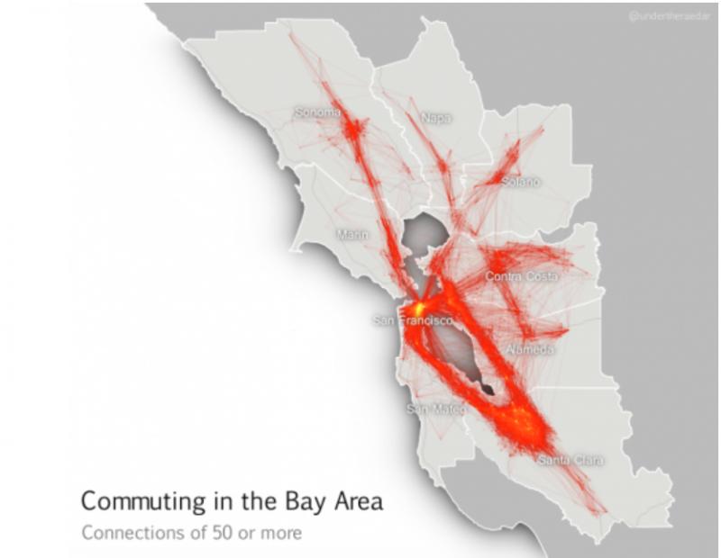 矽谷通勤的熱區圖。寥寥可數的幾條高速公路主宰了幾百萬人每天焦慮的程度。