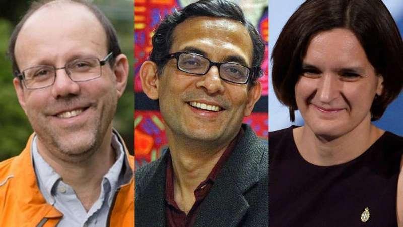 艾希吉•班諾基(Abhijit Banerjee)、艾絲特•杜敷羅(Esther Duflo)和麥克•柯雷默(Michael Kremer)應用實驗性方法致力減輕全球貧困而共同獲得諾貝爾經濟學獎。(林建山提供)