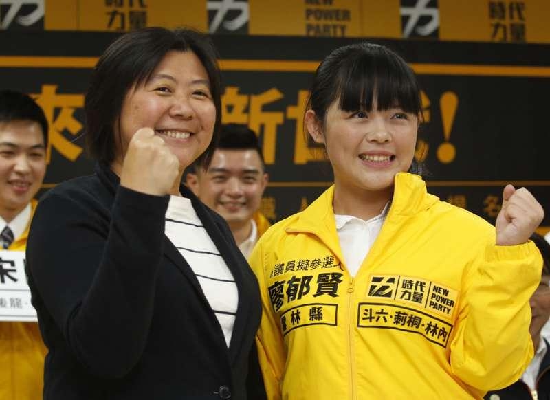 陳惠敏(左)是時力唯一在南部提名的候選人。(郭晉瑋攝)