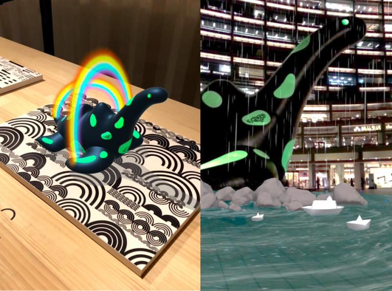 《傷口裡的光》特別設置貨櫃展覽空間,展出代表蛇頸龍六個不同生命歷程的場景版畫,民眾可以透過行動裝置搭配 AR,深入其境感受蛇頸龍的生命記憶!(圖/臺北文創)