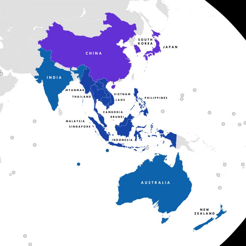 RCEP的16個參與國一覽。值得注意的是,台灣的鄰國全都參與了這個貿易協議的談判。(Tiger7253@Wikipedia/CC BY-SA 4.0)