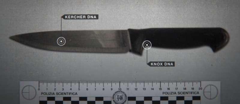 警方聲稱在拉菲爾家找到的決定性凶器,刀尾為阿曼達指紋,刀尖為梅瑞迪絲指紋。(圖/Netflix)