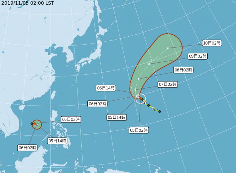 20191105-今年第23號颱風「哈隆」,5日2時中心位置在北緯18.8度,東經152.3度,以每小時8公里速度向西北進行。圖為中度颱風「哈隆」路徑潛勢預報。(取自中央氣象局網站)