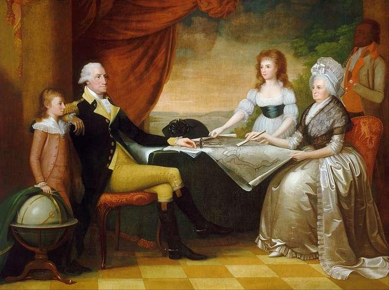 《華盛頓一家》,愛德華·薩維奇繪製,1789-1796年。(維基百科)