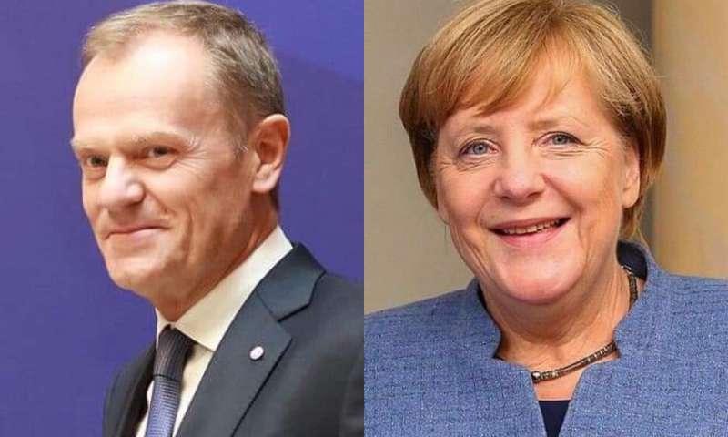 歐洲理事會主席圖斯克(左)和德國總理默克爾(右)(資料照,取自維基百科)