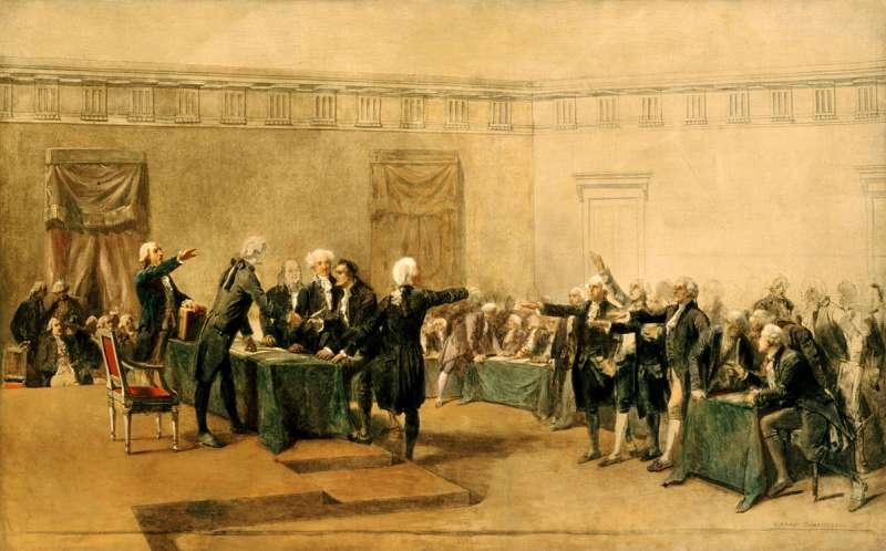 第二屆大陸會議簽署美國獨立宣言。油畫約繪於1783年。(取自維基百科公有領域)