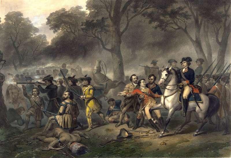 華盛頓率領軍隊。(取自維基百科公有領域)