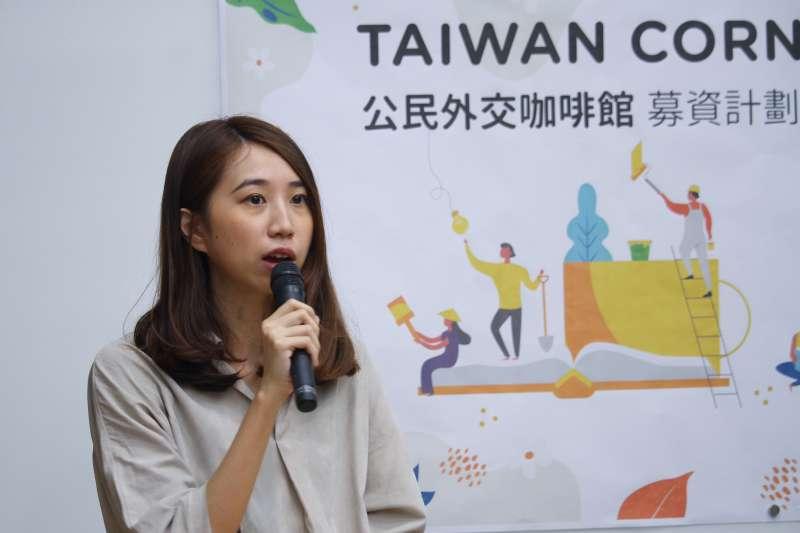 20191107-數位外交協會舉行「Taiwan Corner公民外交咖啡館推廣計劃」記者會,圖為數位外交協會理事長郭家佑。(蔡親傑攝)
