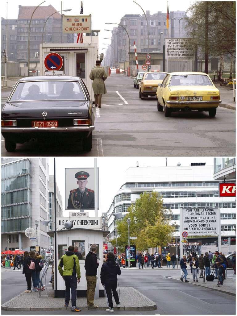 德國柏林查理檢查哨今昔對比。(AP)