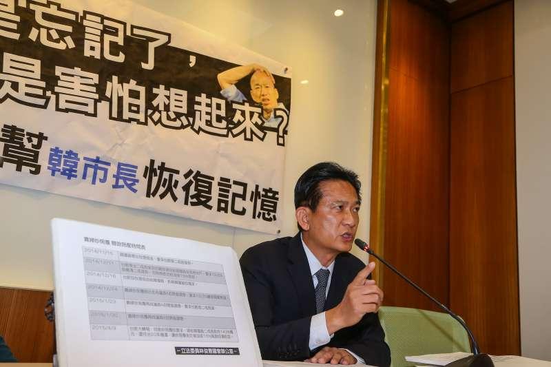 20191111-民進黨立委林俊憲11日召開「林俊憲幫韓市長恢復記憶」記者會。(顏麟宇攝)