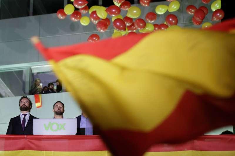 西班牙大選:極右派政黨「聲音黨」(Vox)躍居第三大黨。(AP)