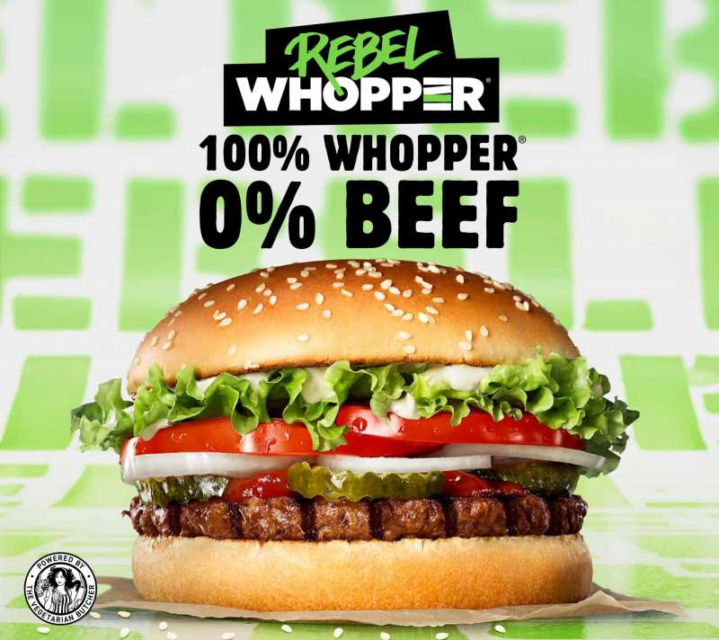 叛逆華堡標榜「100%華堡、0%牛肉」,強調還原華堡風味。(圖截自推特)