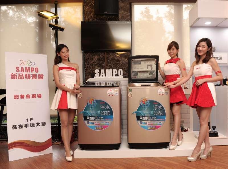 聲寶「PICO PURE洗衣機」具備除菌、防霉、脫臭功能,以及AIE智慧洗淨超震波洗淨SPA噴淋洗清三種功能(圖/聲寶)