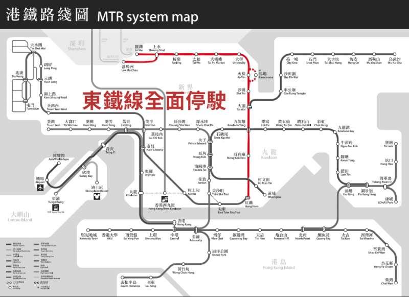 警方與香港中文大學學生12日爆出嚴重衝突與對峙,13日上午中大沿線的東鐵線全面停駛。(風傳媒)