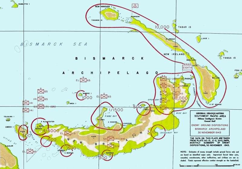 日軍在新不列顛及附近島嶼部署。(圖/維基百科)
